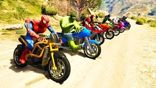 Download COLOR MotorCycles Jumping in Grand Canyon with superheroes! Cartoon video for kids Video