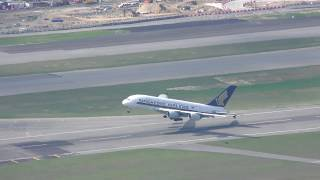 Download Beautiful Singapore Airlines A380 Take off sunset at Hong Kong with ATC Video