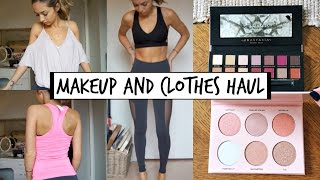 Download Makeup and TRY ON Clothes haul | Lululemon, ABH etc. Video