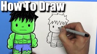 Download How To Draw a Cute Cartoon Hulk - EASY Chibi - Step By Step - Kawaii Video