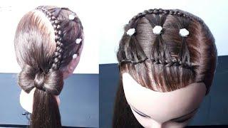 Download Peinados para niñas - media trenzas de lado con moños Video