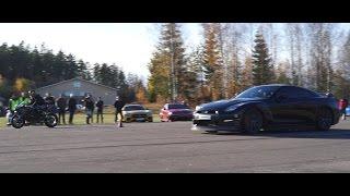 Download Exterior view Kawasaki Ninja H2 vs JRM Racing Nissan GTR E85 863 HP 1130 Nm Video