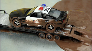 Download Police Cars stuck in the mud and go to the car wash to wash. Video