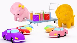Download Learn colors by painting cars with Dina and Dino the Dinosaurs | Educational cartoon for children Video