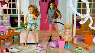 Download Barbie Dream House Party Fail - Barbie Sisters Make a Huge Mess! Fun Doll Story for Kids Video