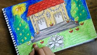 Download How to draw diwali scene for kids- Very easy Video