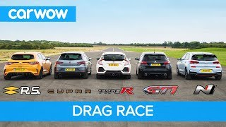 Download i30N vs Type-R vs Megane RS vs Cupra R vs 308 GTi - DRAG RACE, ROLLING RACE, BRAKE TEST & REVIEW! Video