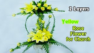 Download DIY Floral Arrangements for Church|Yellow ROSE Flower 2 Layers|Eps 25 Video
