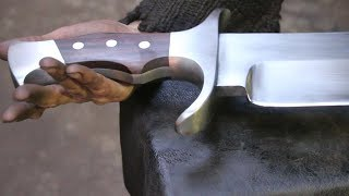 Download Forging a gigantic Bowie sword, part 2, making the handle. Video