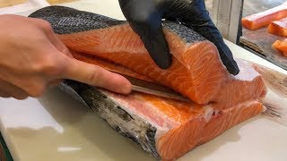 Download Salmon Cutting Skills 鮭魚切割技能 - How to Cut a Salmon for Sashimi Video