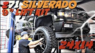 "Download z71 SILVERADO WITH A 9″ LIFT KIT on 24x14 Xtreme Force Wheels and 37"" tires Video"