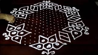 Download Beautiful cute flowers kolam with 21-11 middle | chukkala muggulu with dots| rangoli design Video
