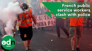 Download French public service workers clash with police Video