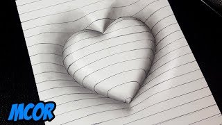 Download Como Dibujar un Corazón en 3D con Lineas - Dibujos 3D Faciles Video