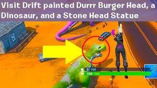 Download visit Drift painted Durr Burger Head, dinosaur, Stone Head Statue Video