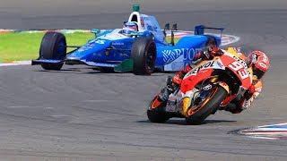 Download Marc Marquez MotoGP Bike vs FORMULA F1 Indy Race Car Video