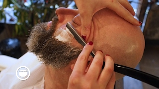 Download Wet Shave With Maintenance Beard Trim at Barbershop | Cut and Grind Video