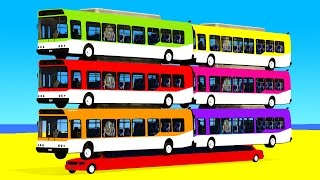 Download COLOR BUS on Long Car & Spiderman Cartoon for babies with Cars Superheroes for kids! Video