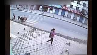 Download Girl swallowed by pavement in China Video
