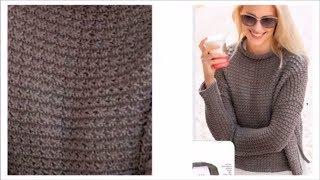 Download Безразмерный пуловер с воротником стойкой спицами Video