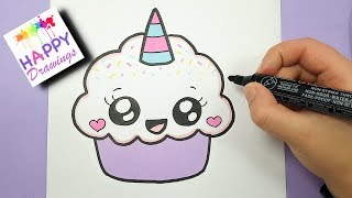 Download HOW TO DRAW A CUTE CUPCAKE UNICORN - SUPER EASY AND KAWAII Video