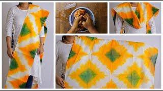 Download DIY Latest Tri Color Dupatta Tie & Dye | టై అండ్ డై | Tie&Dye for Dupattas, Bedsheets, Curtains Video