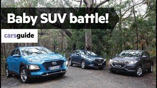 Download Hyundai Kona vs Honda HR-V vs Mazda CX-3 2019 comparison review Video