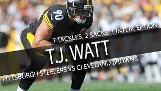 Download T.J. Watt STEELERS DEBUT Highlights vs Browns // 7 Tackles, 2 Sacks, 1 Interception // 9.10.17 Video