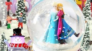 Download FROZEN PRINCESS SISTERS CHRISTMAS GIFTS SNOW GLOBES Glitter Snowman Ice Skating Castle Decoration Video