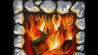 Download FIREPLACE Step by Step Acrylic Painting on Canvas for Beginners Video
