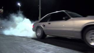 Download Insane launch 347ci Foxbody Mustang 5 speed Nitrous 9.8 @ 135 Video