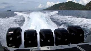 Download 5 Mercury Outboard Motors on the Sea Marlin Fast Boat - Bali to Gili Islands Video