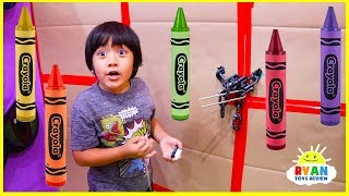 Download Ryan Pretend Play Giant Box Fort Maze and Learn Colors with Crayons Video