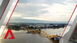 Download Drone footage of tsunami-hit Indonesian city Palu Video