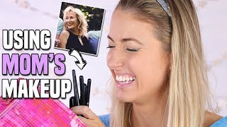 Download Full Face Using ONLY MOM'S MAKEUP Challenge! || + HER REACTION?! Video
