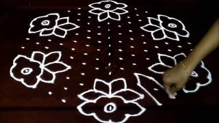 Download Simple flowers kolam with 15-8 middle | chukkala muggulu with dots| rangoli design Video