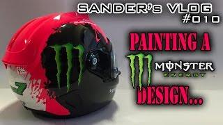 Download Painting a Monster Energy design on a helmet - Sander's vlog 010 Video