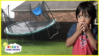 Download Scary Storm blew away our trampoline and Lights Went Out with Ryan's Family Review Video
