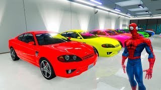 Download LEARN COLOR with SPIDERMAN & Superhero Car garage toys cartoon for kids 3D animation Video