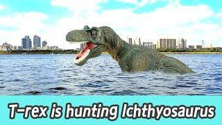 Download [EN] #74 T-rex is hunting lchthyosaurus, kids education, Collecta figureㅣCoCosToy Video