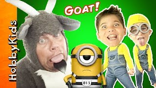 Download SILLY GOAT and KIDS in Minion Costumes Open Despicable Me Toys Video