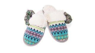 Download Foot Petals Fair Isle Knit Pom Pom Slipper Video