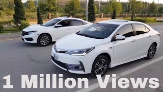 Download TOYOTA COROLLA FACELIFT ALTIS GRANDE 2018 VS HONDA CIVIC UG 2018 COMPARISON REVIEW AND RACE PAKISTAN Video