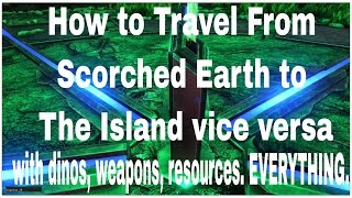 Download NEW* How to Travel from Scorched Earth to the Island map, With Dinos and Gear - server travel Video
