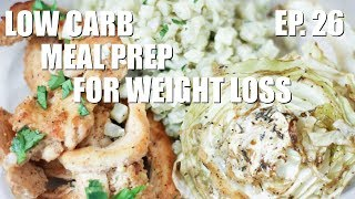 Download Low Carb Meal Prep | Spicy Baked Chicken and Honey Balsamic Baked Cabbage with Cauliflower Lime Rice Video