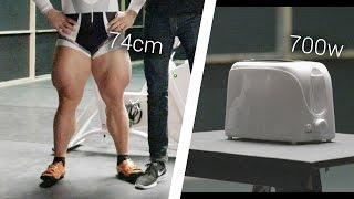 Download Olympic Cyclist Vs. Toaster: Can He Power It? Video