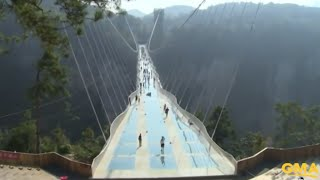 Download Longest and Highest Glass Bridge Opens in China Video