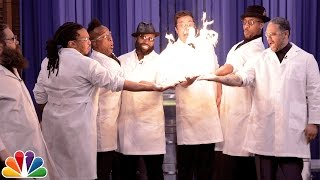 Download Science Expert Kevin Delaney Lights Jimmy Fallon and The Roots' Hands on Fire Video