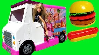 Download FOOD Truck ! ELSA & ANNA toddlers & Barbie - KETCHUP everywhere - Hotdogs Burgers Pizza Sandwich Video