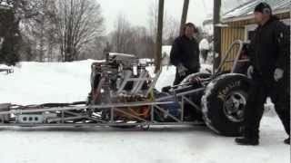Download Front Engine Dragster SBC 355 Methanol 6/71 Supercharged first start Video